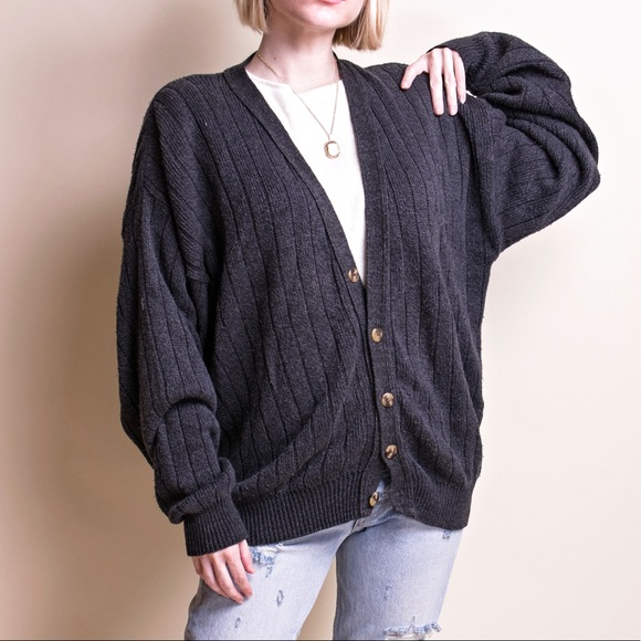 5e88692272a Vintage 90s gray oversized cozy knit cardigan